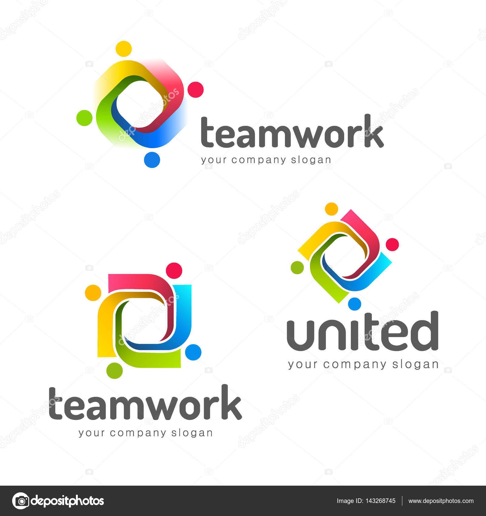 Logo-Design-Vektor-Vorlage. Teamarbeit. Partnerschaft. Freundschaft ...