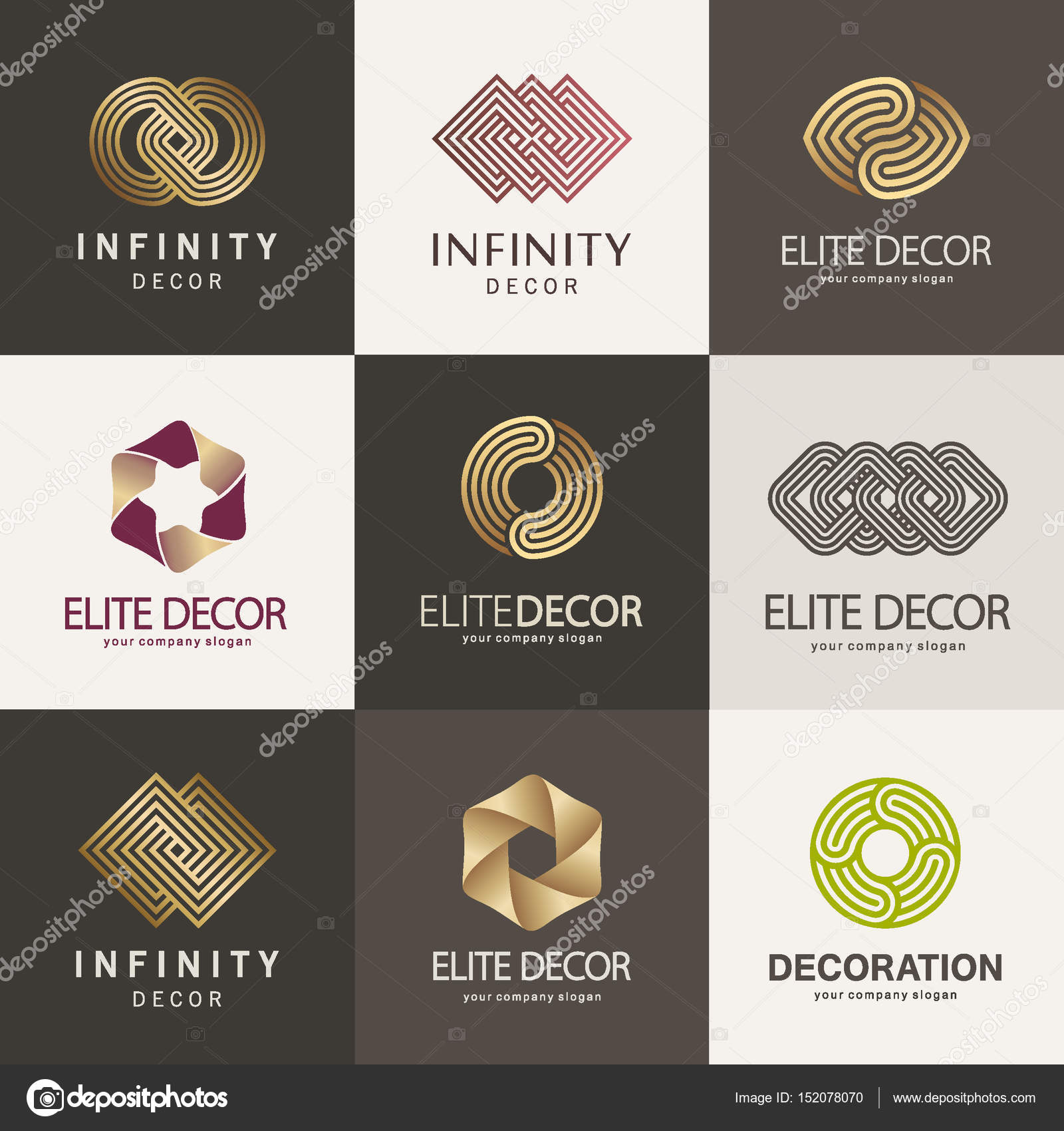A Collection Of Logos For Interior Furniture Shops Decor Items And Home Decoration Stock Illustration