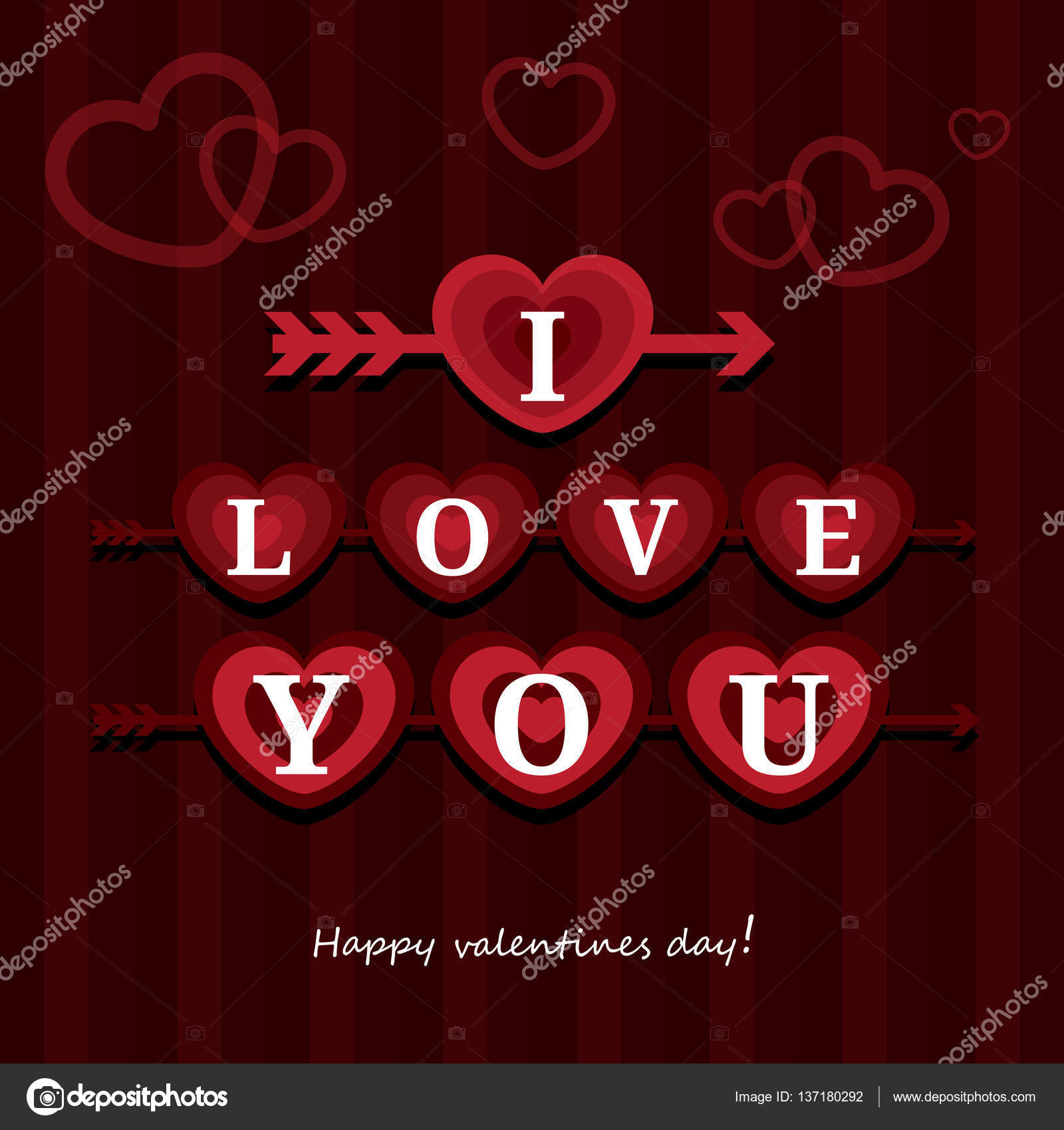 Greeting Card I Love You Happy Valentine Day Vector Illustration