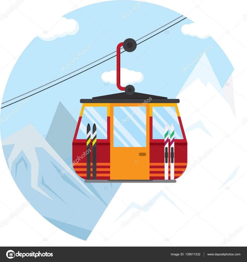 冬のスキー場のリフトのケーブルカーのベクトル イラスト ストック