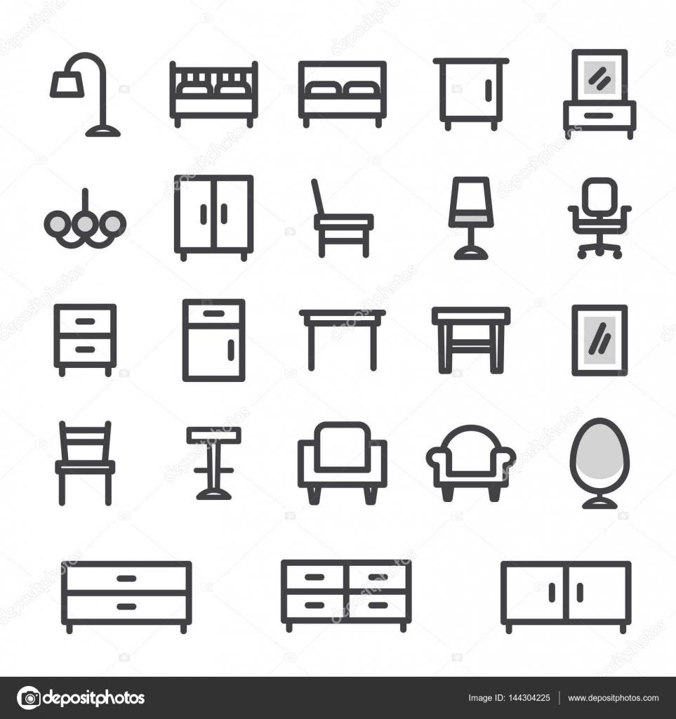 Vector Icons Set Mobilier Pour La Maison Et L Int Rieur Bureau  # Les Meubles Pour La Maison