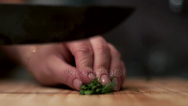 Woman with knife cuts bunch of fresh dill on wooden board. Preparation salad