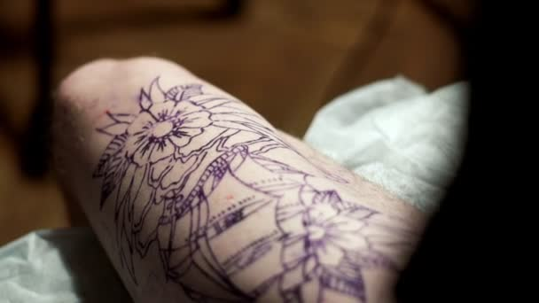 Sketch tattoo on body close up. Tattoo design