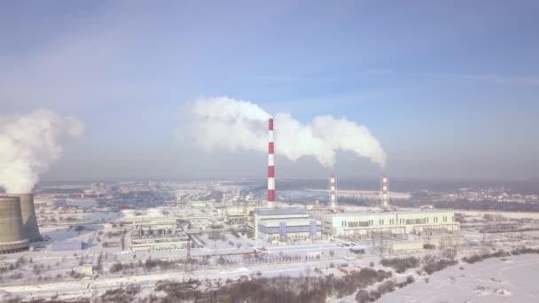 Luftbild Rauchen Schornstein am Kraftwerk am Stadtlandschaft ...
