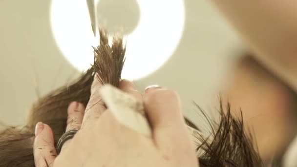 Haircutter hands making haircut with scissors and comb. Hairdresser cutting hair with hairdressing scissors in barber shop. Close up barber haircut with comb in beauty salon.