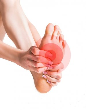Massage of female feet. Pain in the foot. Isolated on white background.
