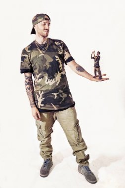 manipulation of two rap singers posing in studio