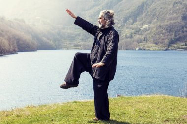 mature man practicing Tai Chi discipline outdoors