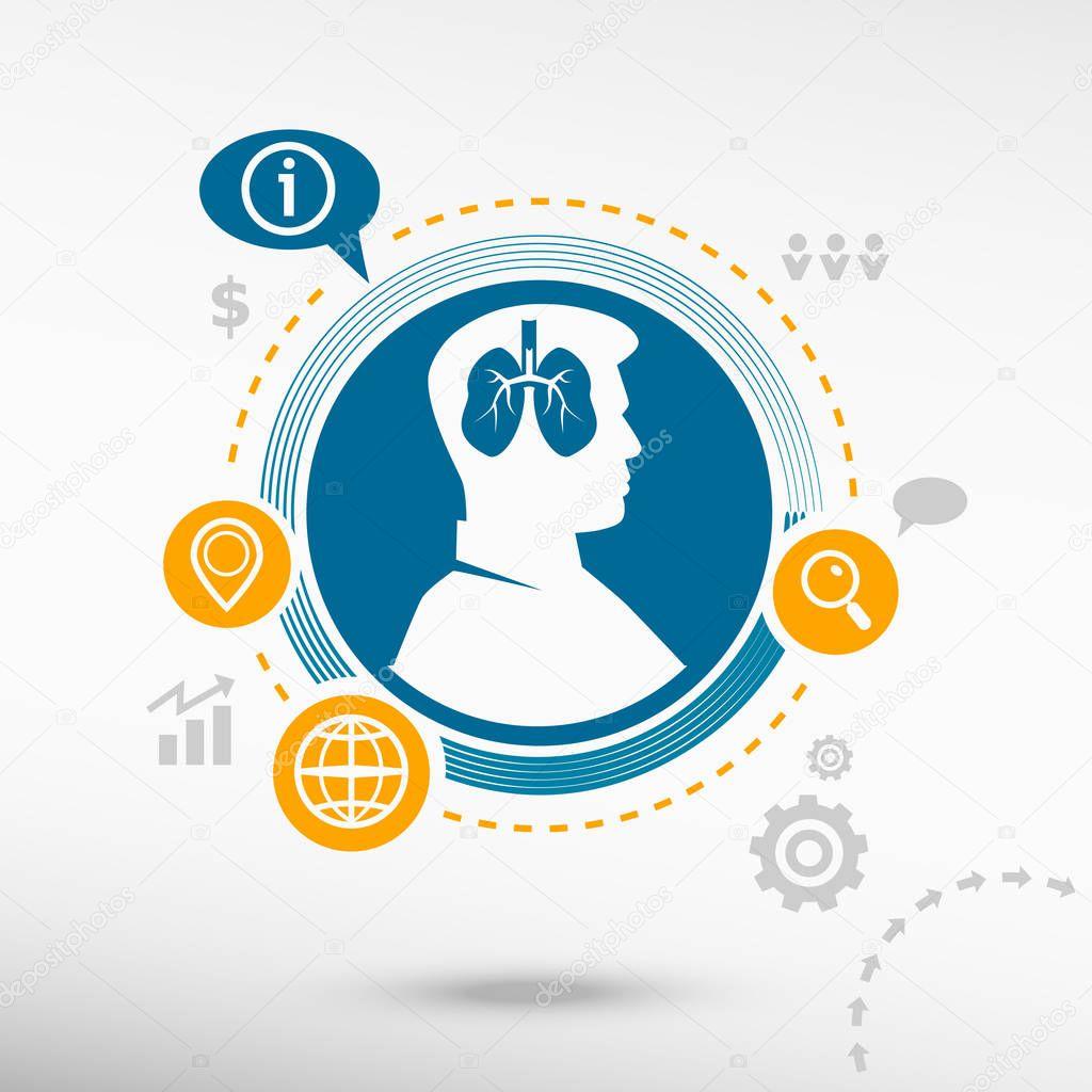 Lunge-Symbol und männlichen Avatar Profilbild — Stockvektor ...