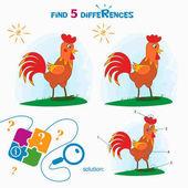 Finden Sie 5 Unterschiede. Cartoon-Vektor-Illustration zu finden un