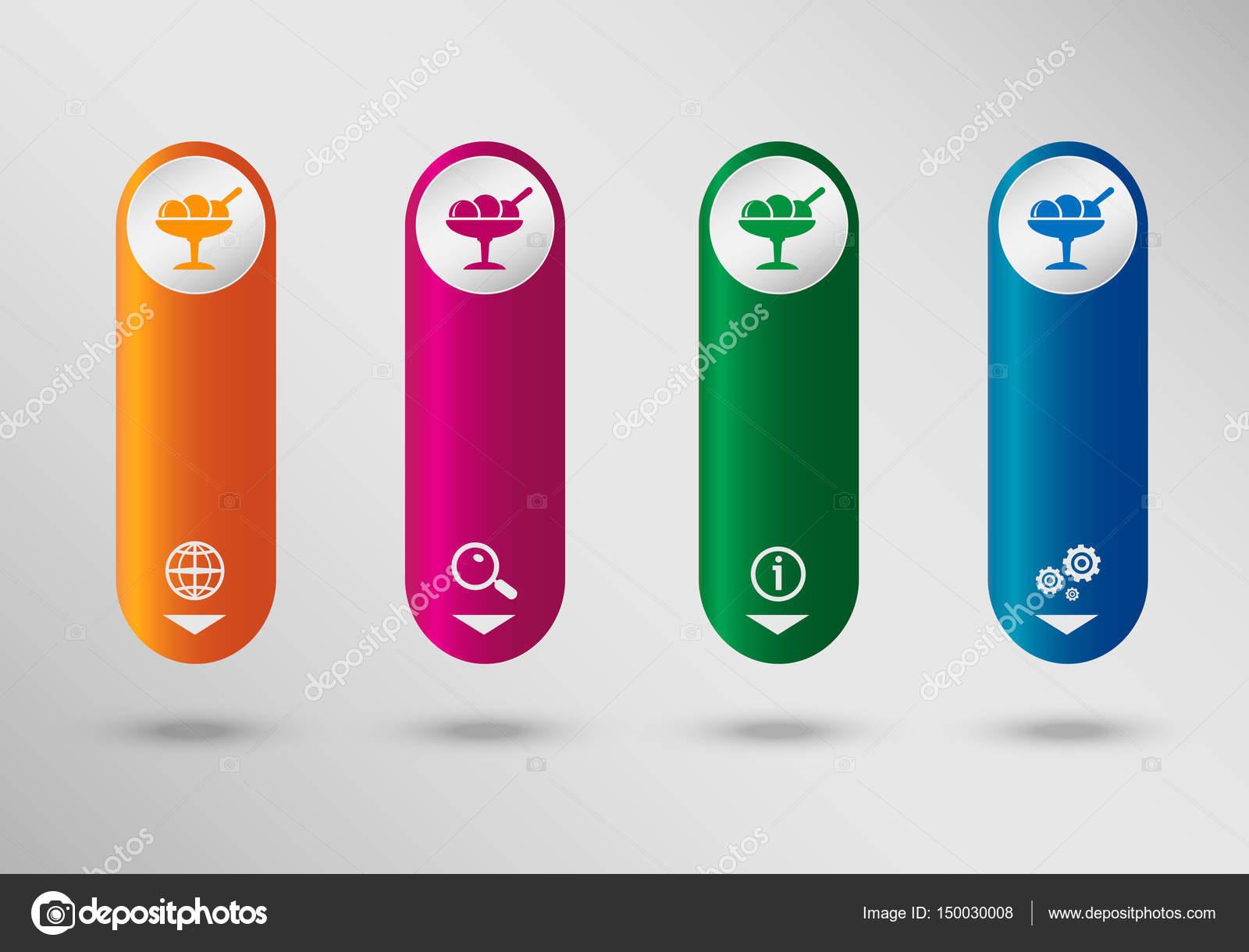 Icono de helado en la plantilla de diseño de infografía vertical ...