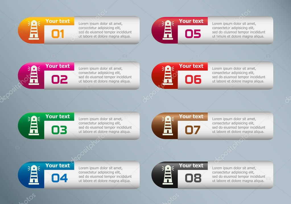 Lighthouse icon and marketing icons on Infographic design templa