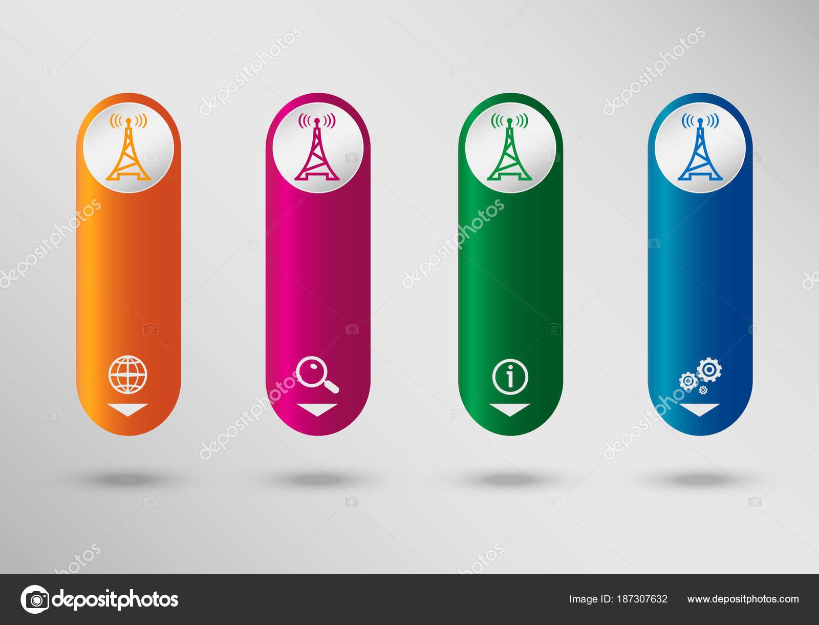 Icono de transmisor en plantilla de diseño vertical de la infografía ...