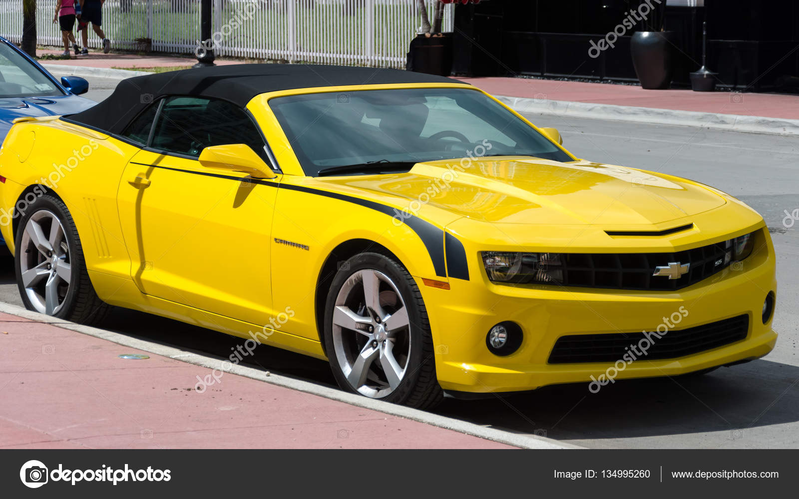 Yellow High Tech Chevrolet Camaro Ss Convertible Stock