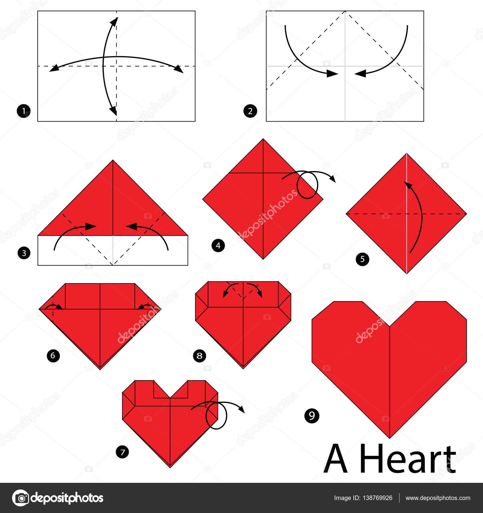 Imagenes Origami De Corazon Paso A Paso Las Instrucciones De Como - Origami-corazn