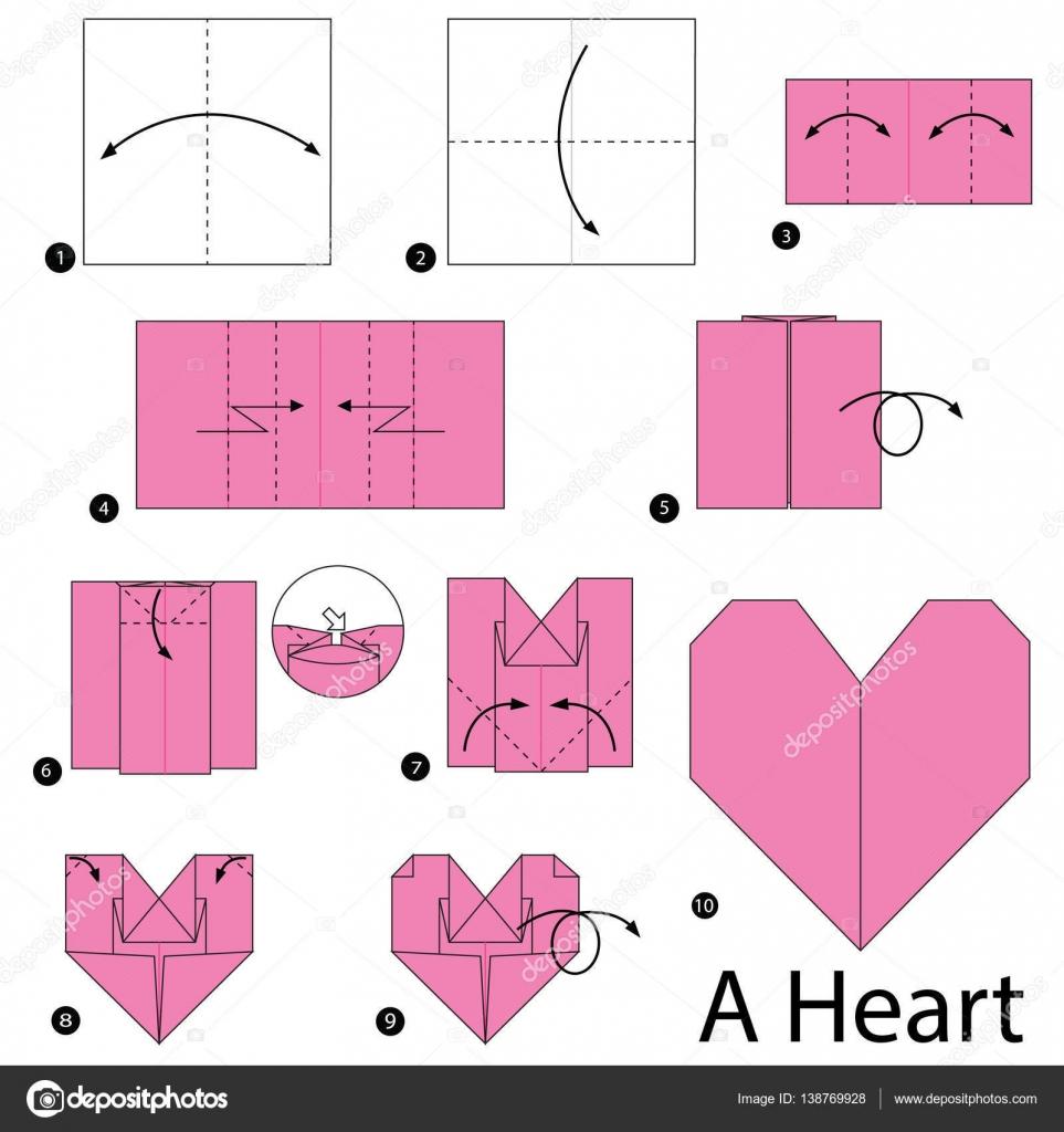 Instru es passo a passo como fazer um cora o de origami - Como hacer un corazon con fotos ...