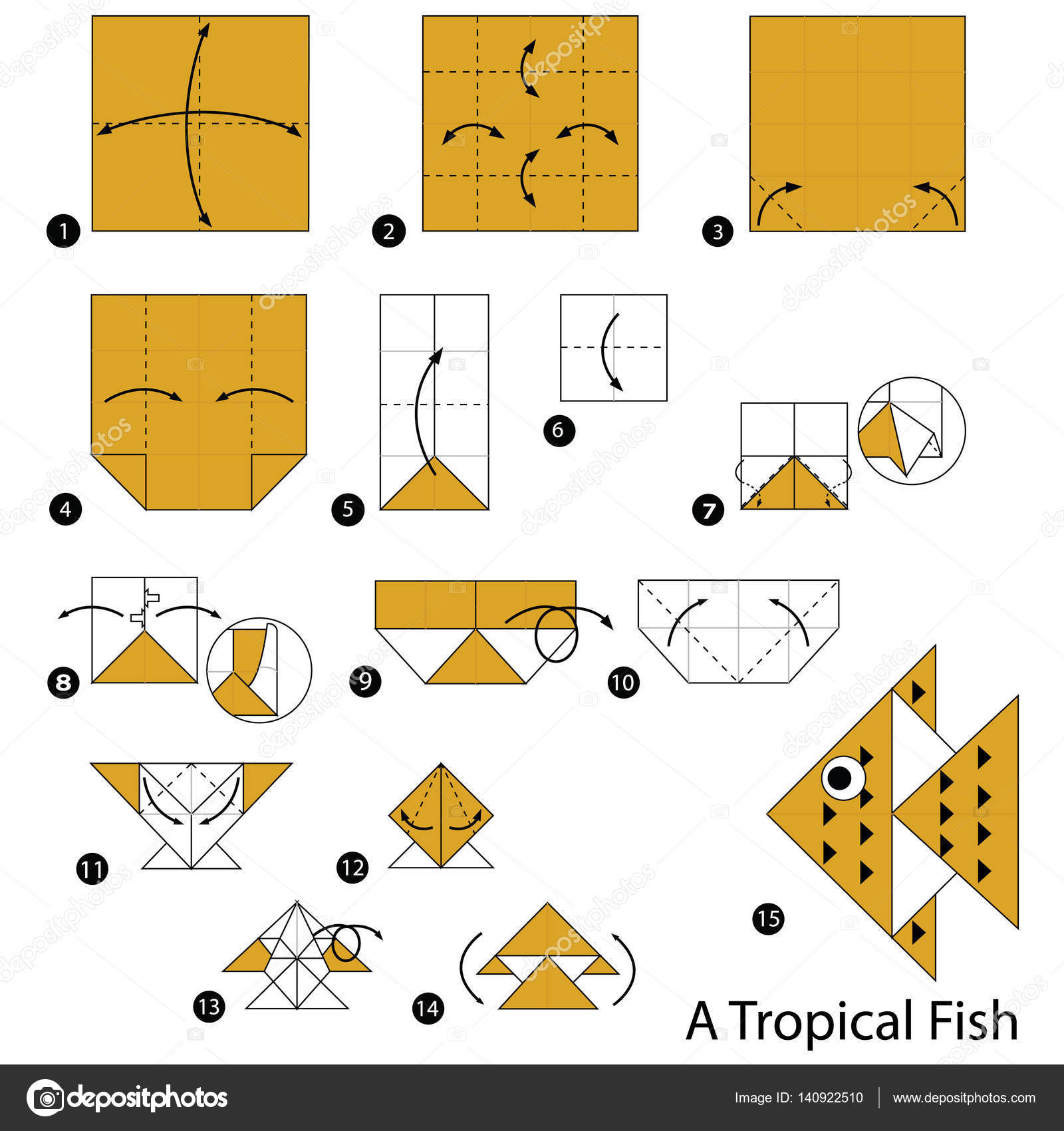 Step by step instructions how to make origami a tropical fish animal toy cartoon cute paper steps origami vector by pokky334hotmail jeuxipadfo Images