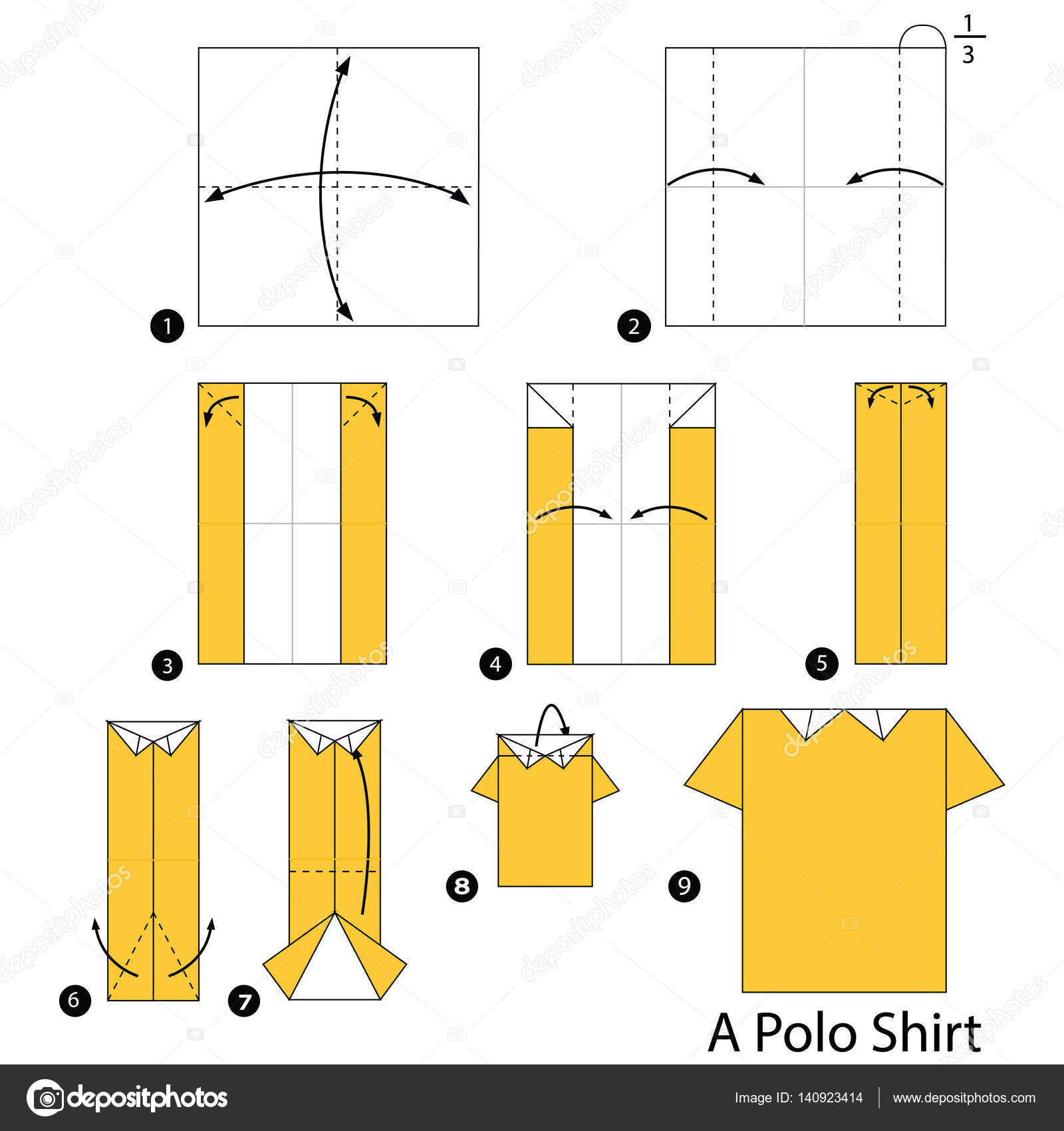 Step By Step Instructions How To Make Origami A Polo Shirt Stock
