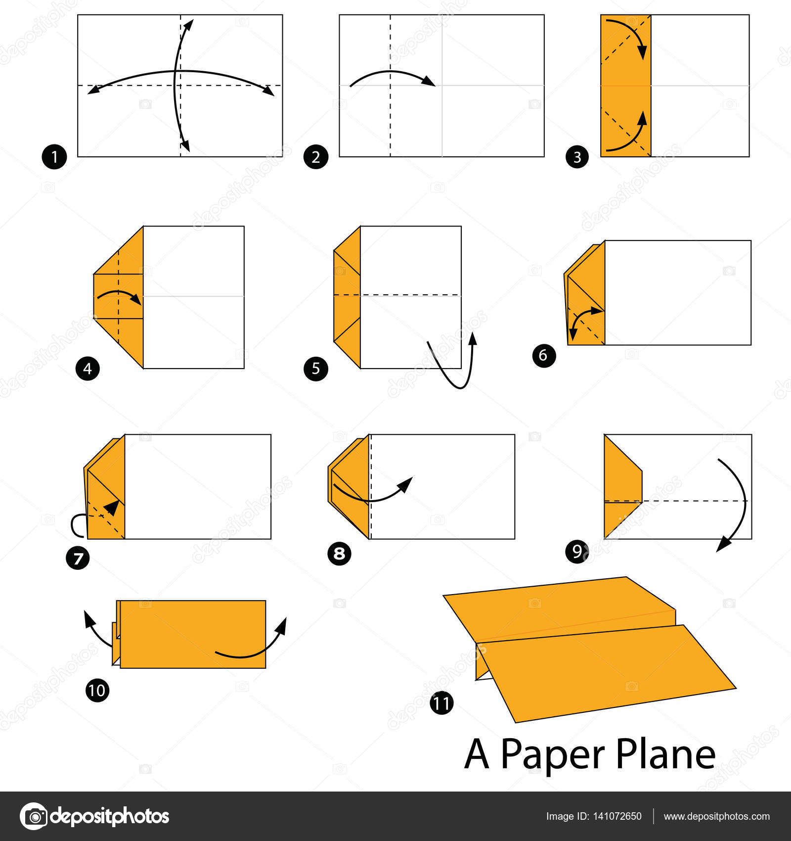 Step By Step Instructions How To Make Origami A Paper Plane Stock