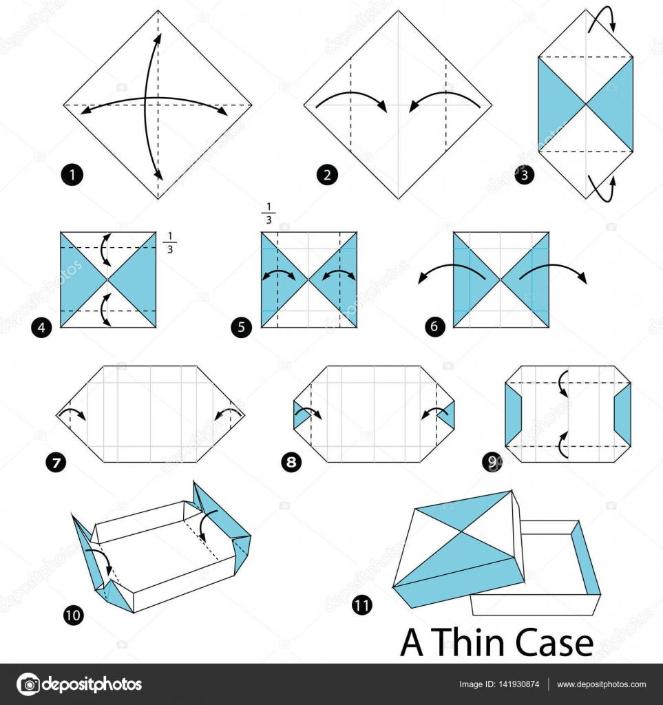 Step By Instructions How To Make Origami A Thin Case Stock Vector