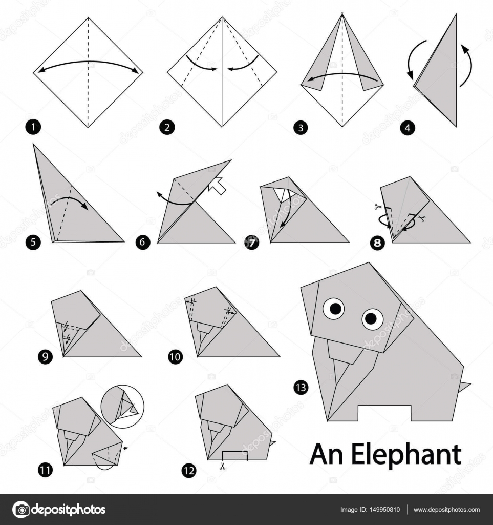 Super Step by step instructions how to make origami An Elephant AI13