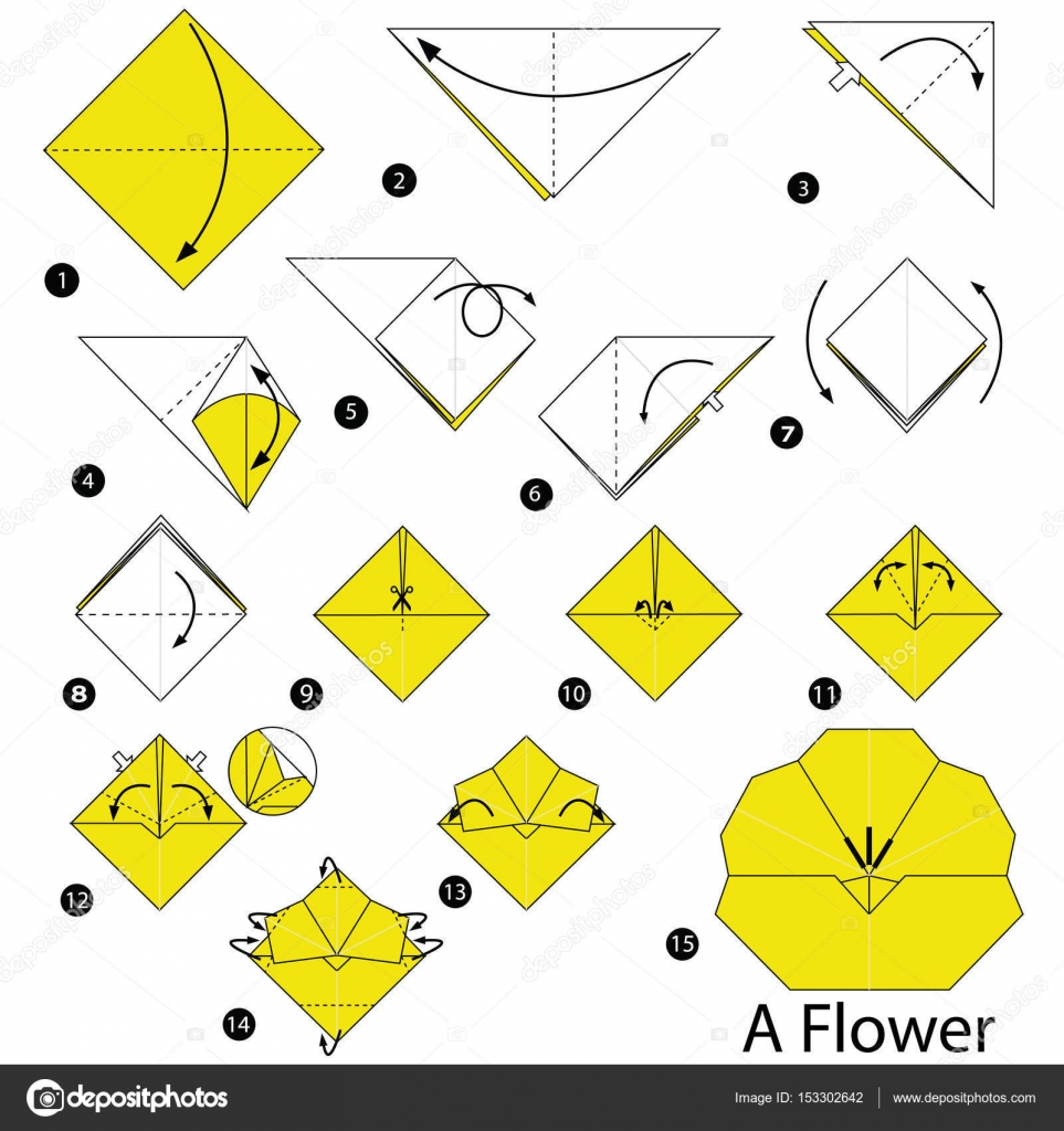 Step by step instructions how to make origami a flower stock step by step instructions how to make origami a flower stock vector jeuxipadfo Gallery