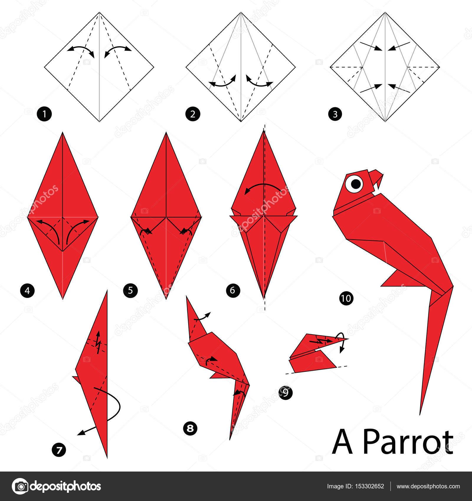 Origami Loro De Papel Paso A Paso Las Instrucciones De Como Hacer
