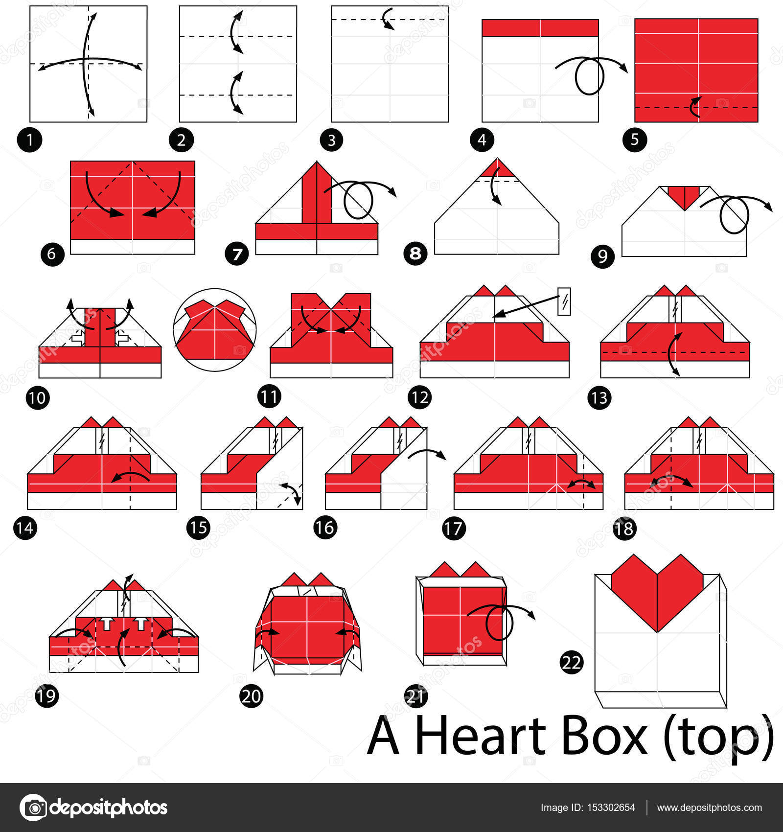Step By Instructions How To Make Origami A Heart Box Stock Vector