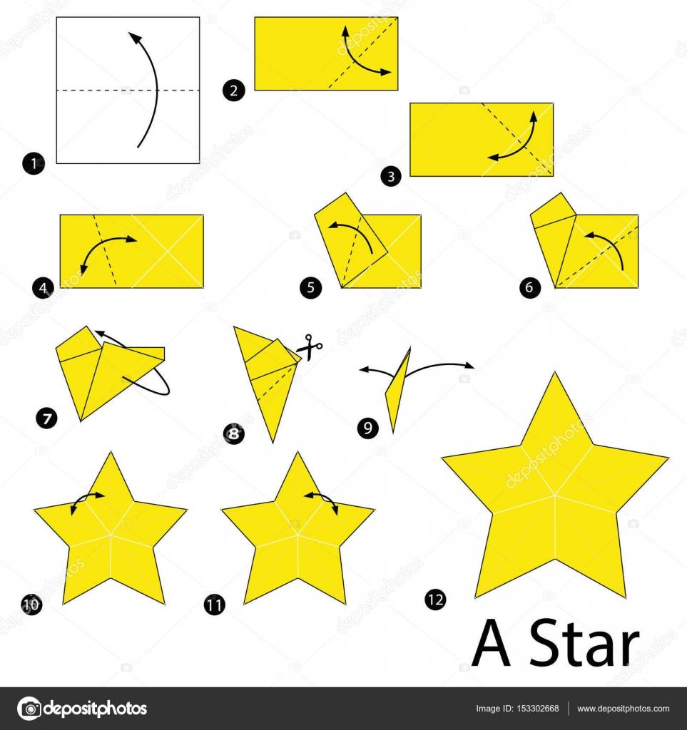 Paso a paso las instrucciones de c mo hacer una estrella - Origami de una estrella ...