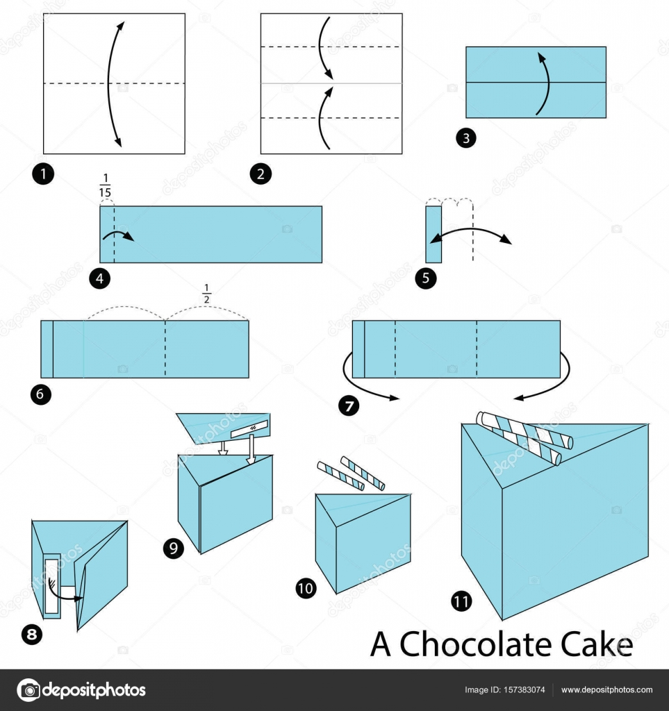 Step by step instructions how to make origami a chocolate cake step by step instructions how to make origami a chocolate cake stock vector jeuxipadfo Choice Image