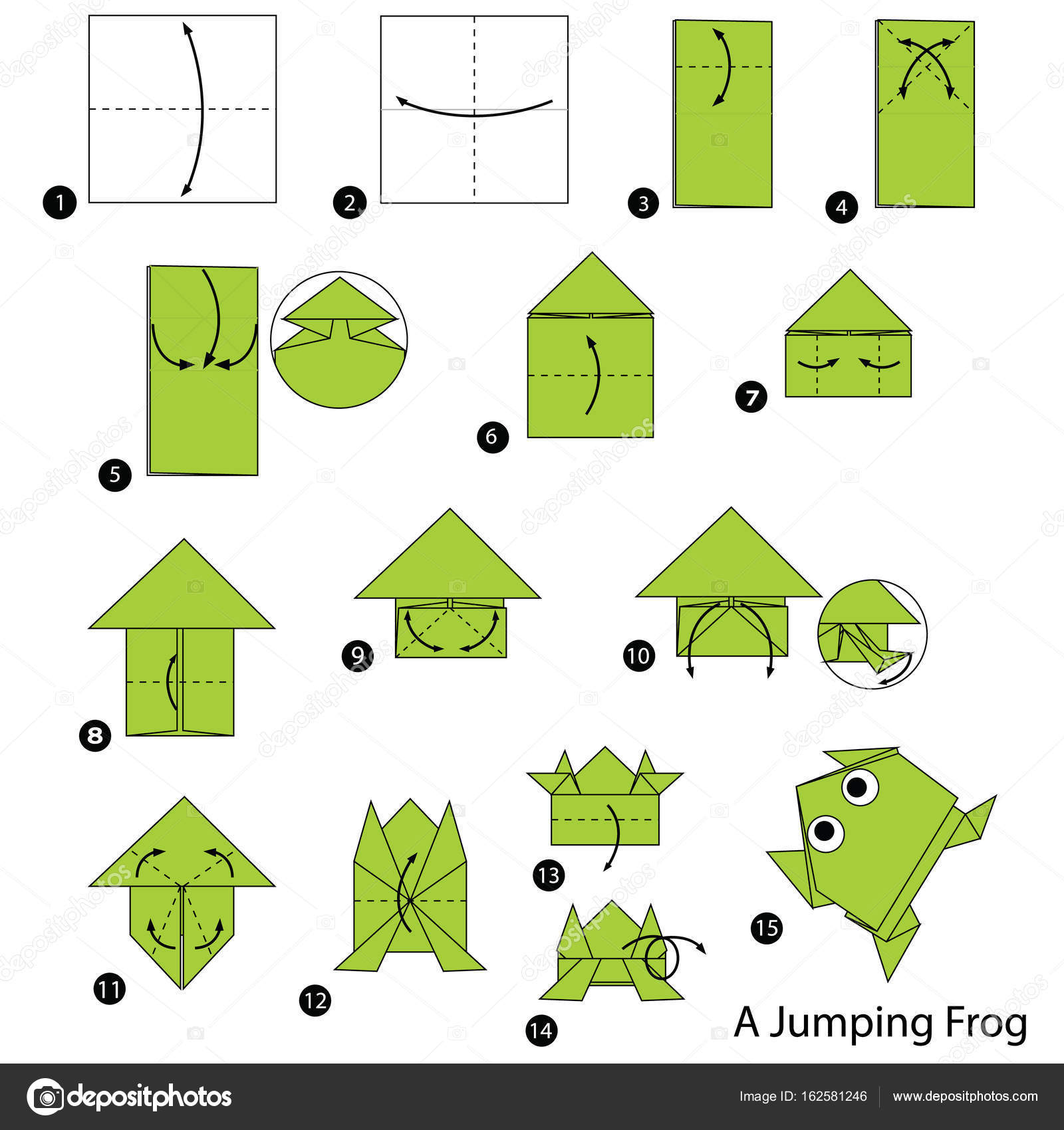 Step by step instructions how to make origami a jumping frog animal toy cartoon cute paper steps origami art vector by pokky334hotmail jeuxipadfo Images