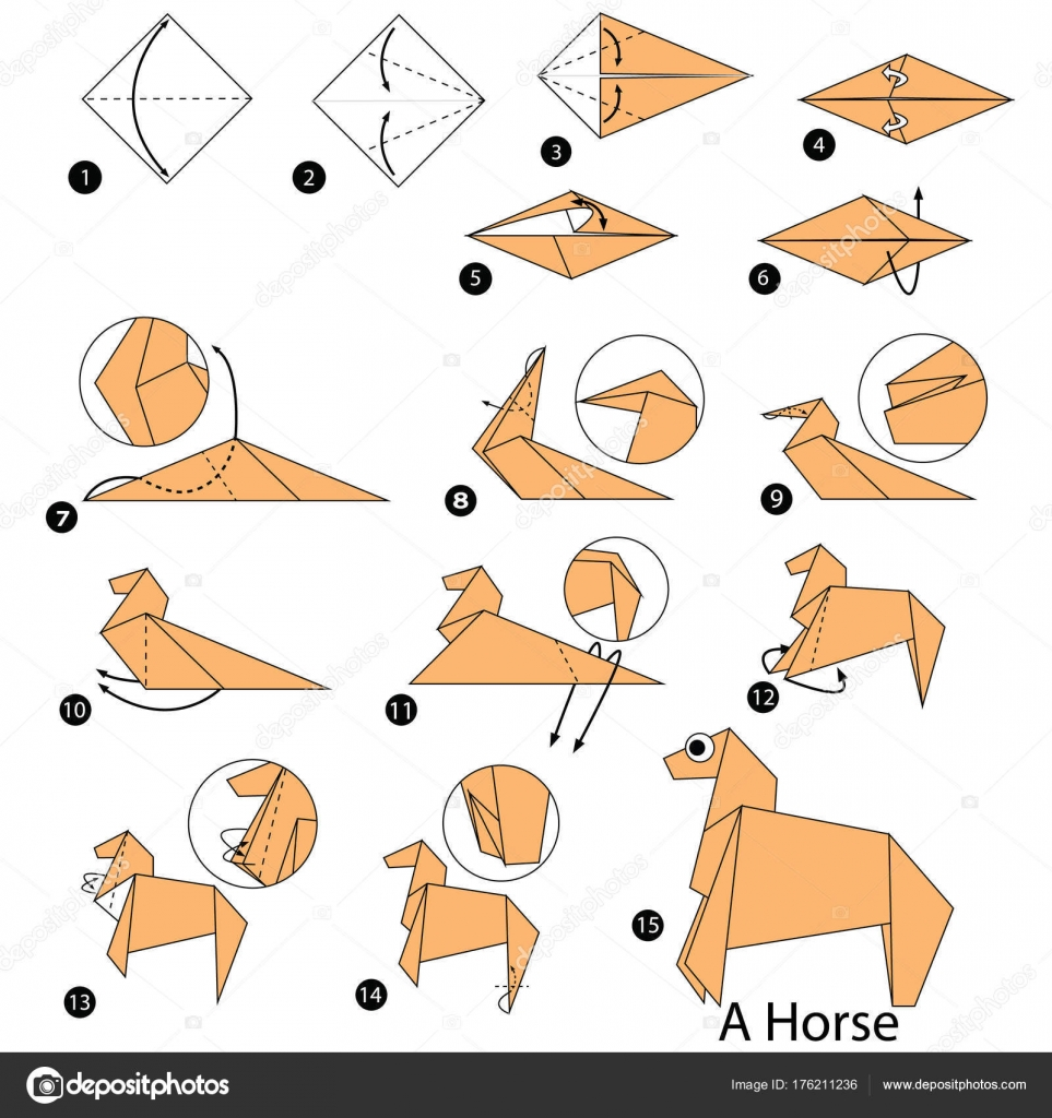 Step Instructions How Make Origami Horse Stock Vector