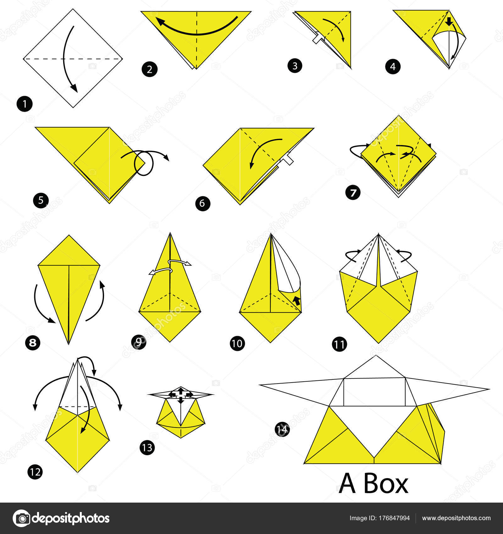 Marvelous Step Step Instructions How Make Origami Box Stock Vector Wiring Digital Resources Honesemecshebarightsorg