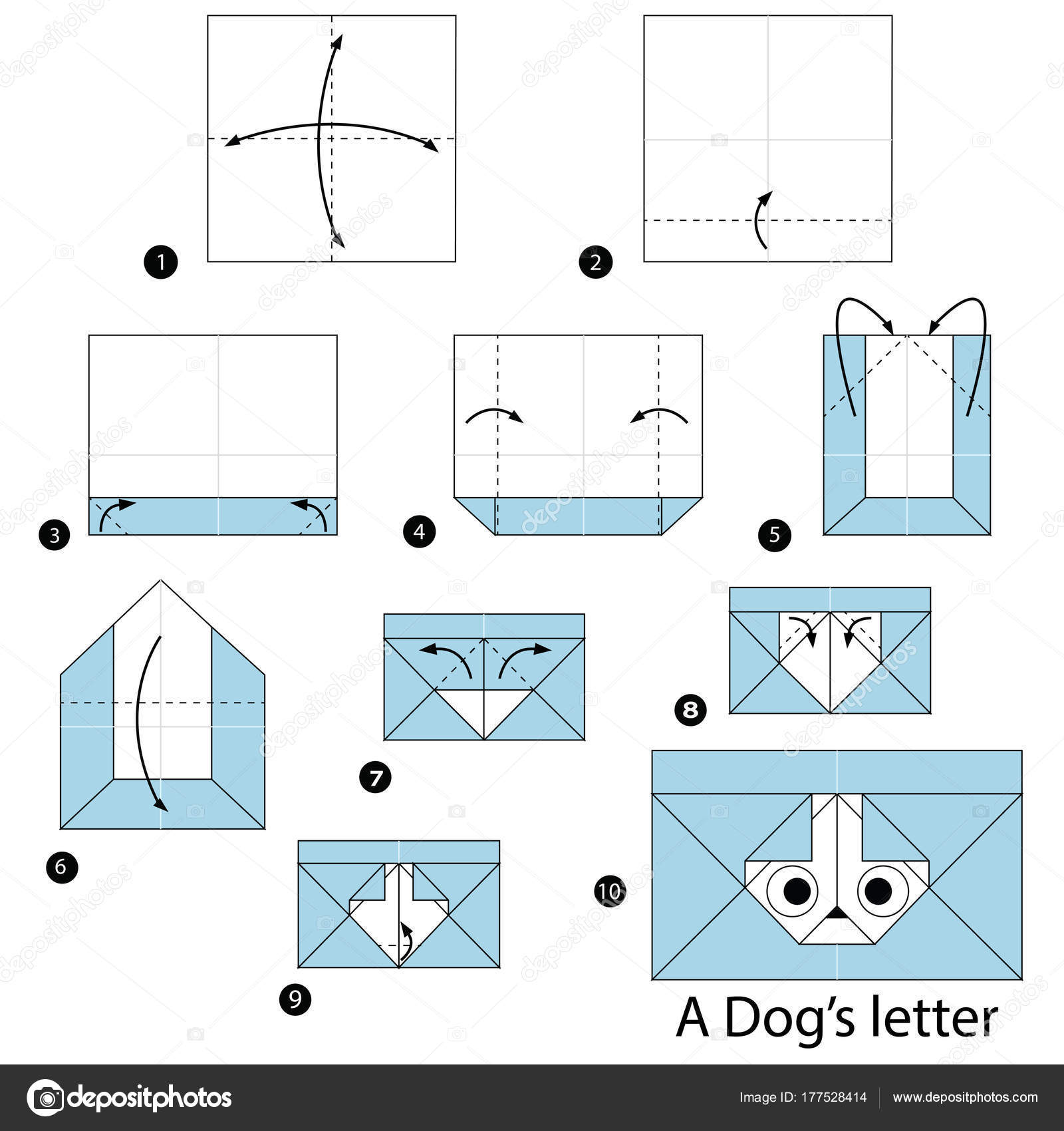 Step By Step Instructions How To Make Origami A Dog Stock Vector ... | 1024x963