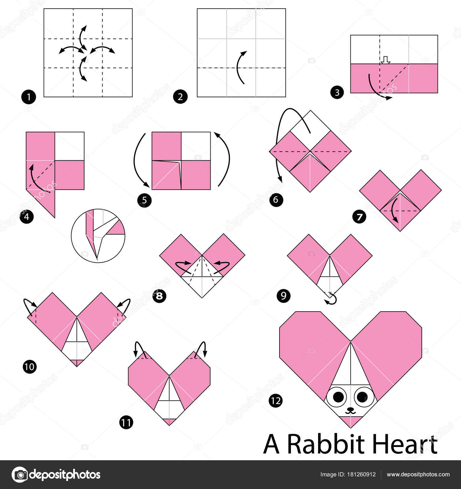 Step Instructions How Make Origami Rabbit Heart Stock Vector