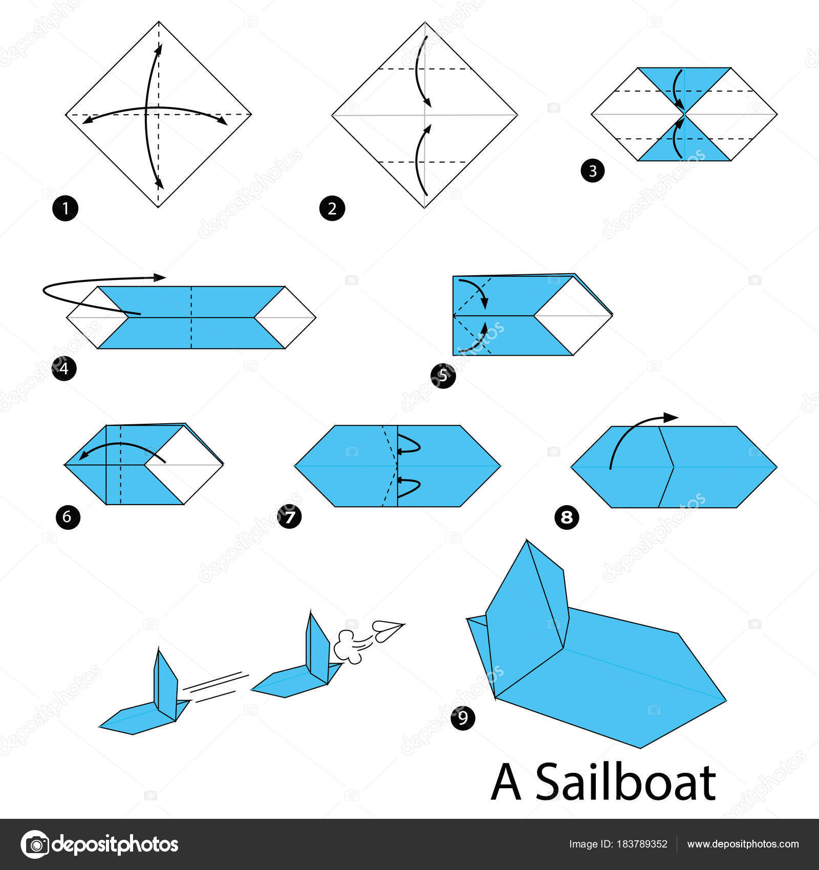 Step Instructions How Make Origami Sailboat Stock Vector
