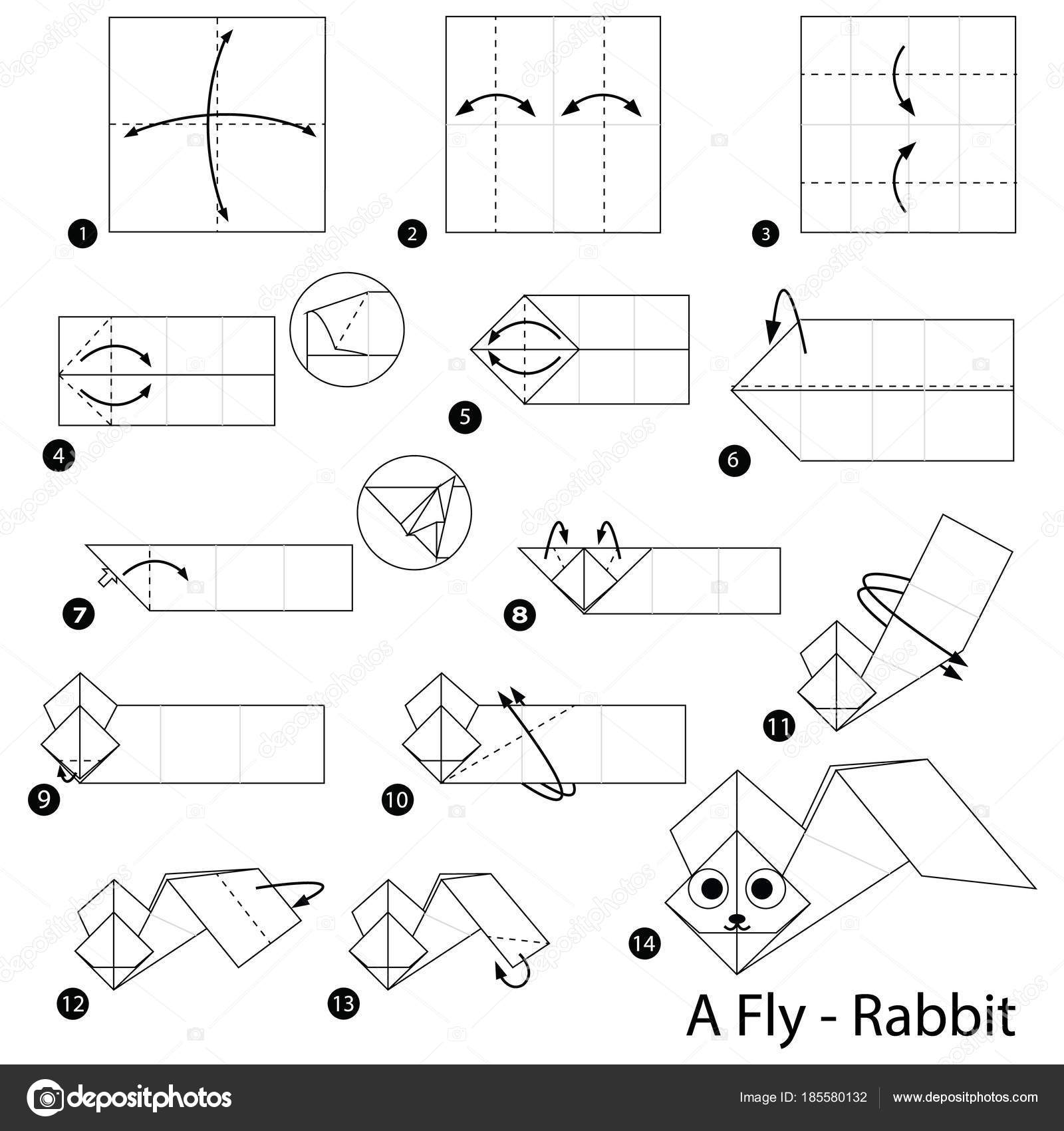 Step Step Instructions How Make Origami Fly Rabbit Stock Vector