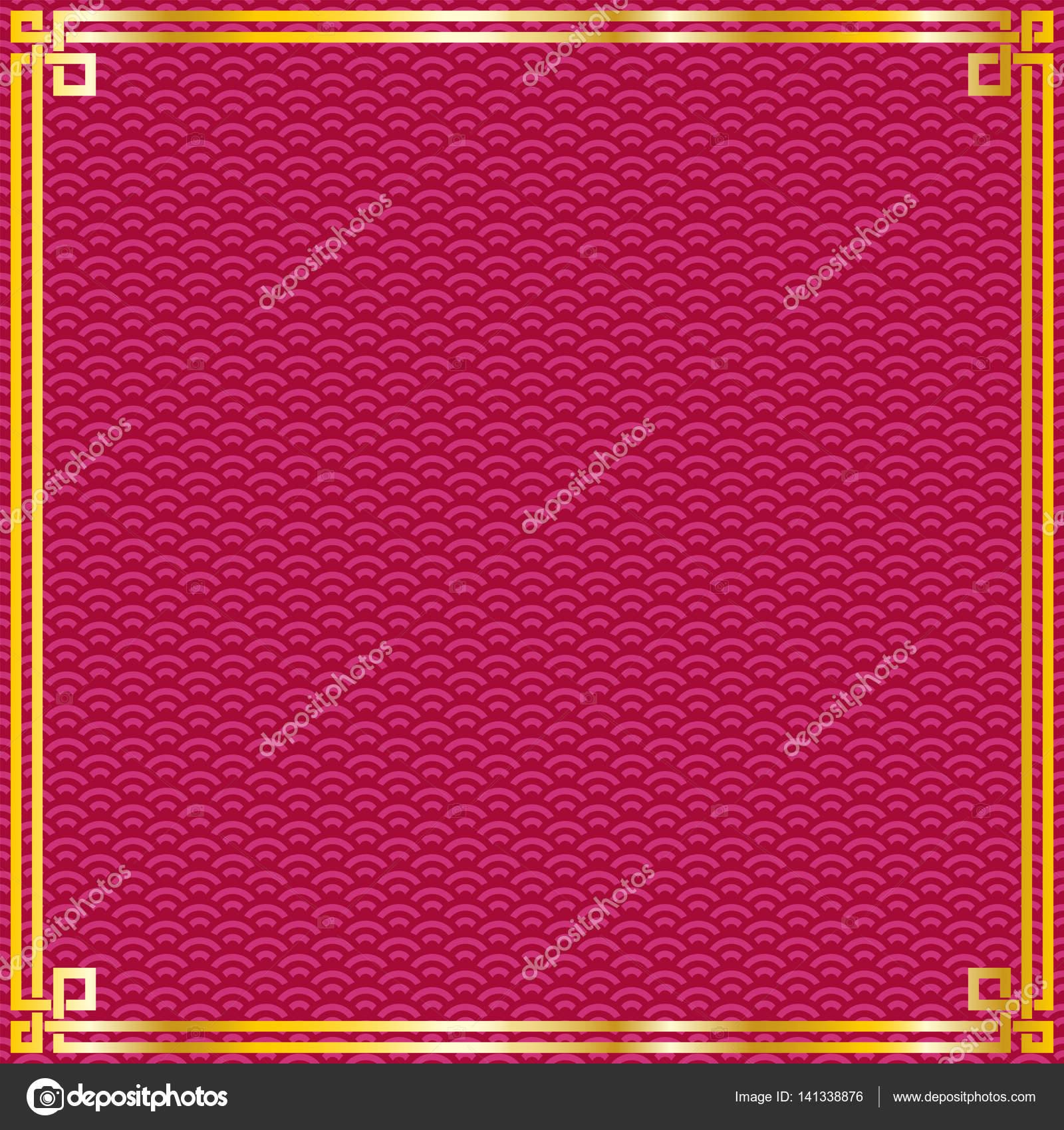 Cinese Orientale Oro Semplice Cornice Su Sfondo Rosso Del Reticolo