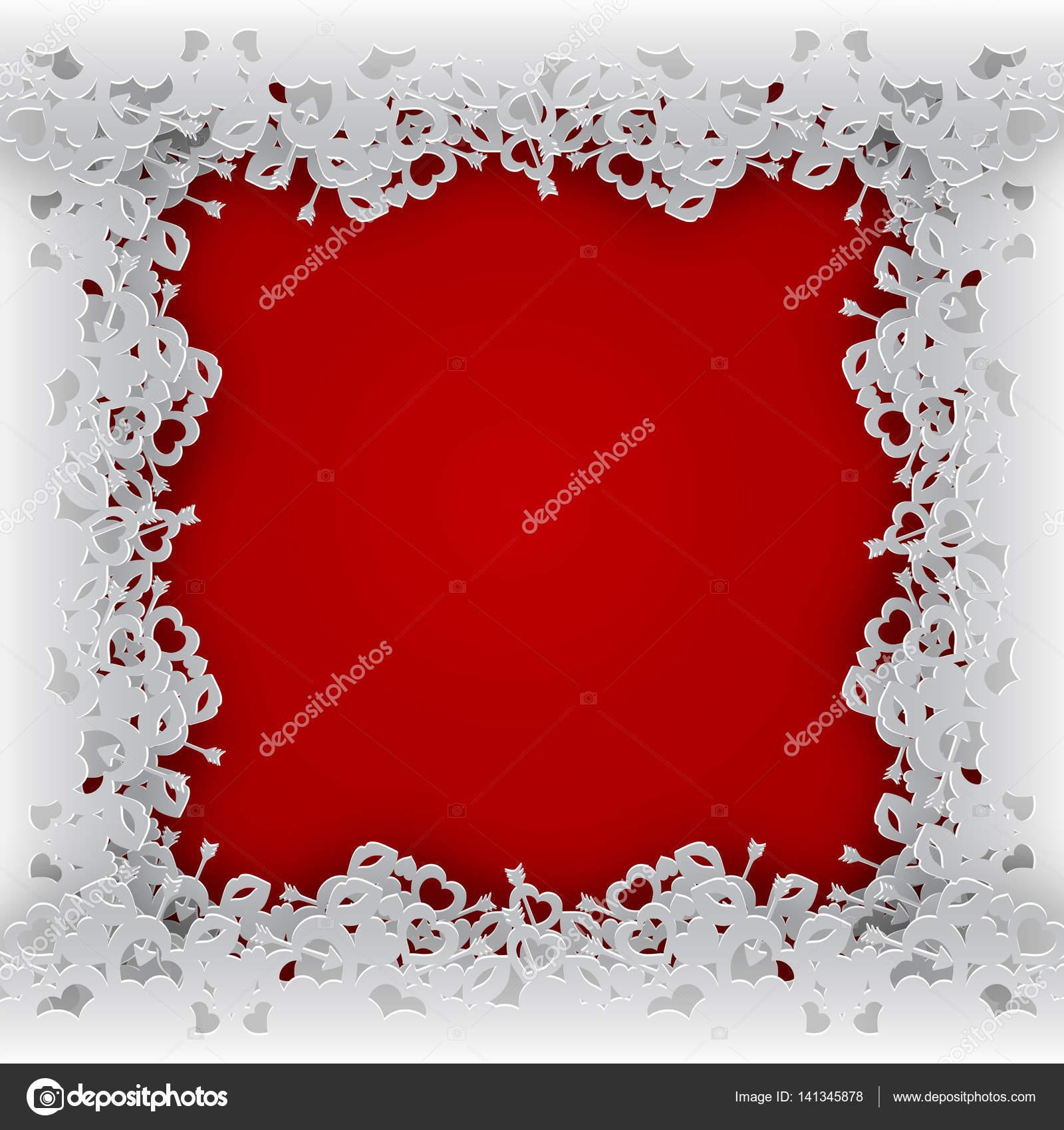 geschnürte Doppelrahmen mit Herzen auf rotem Grund — Stockvektor ...