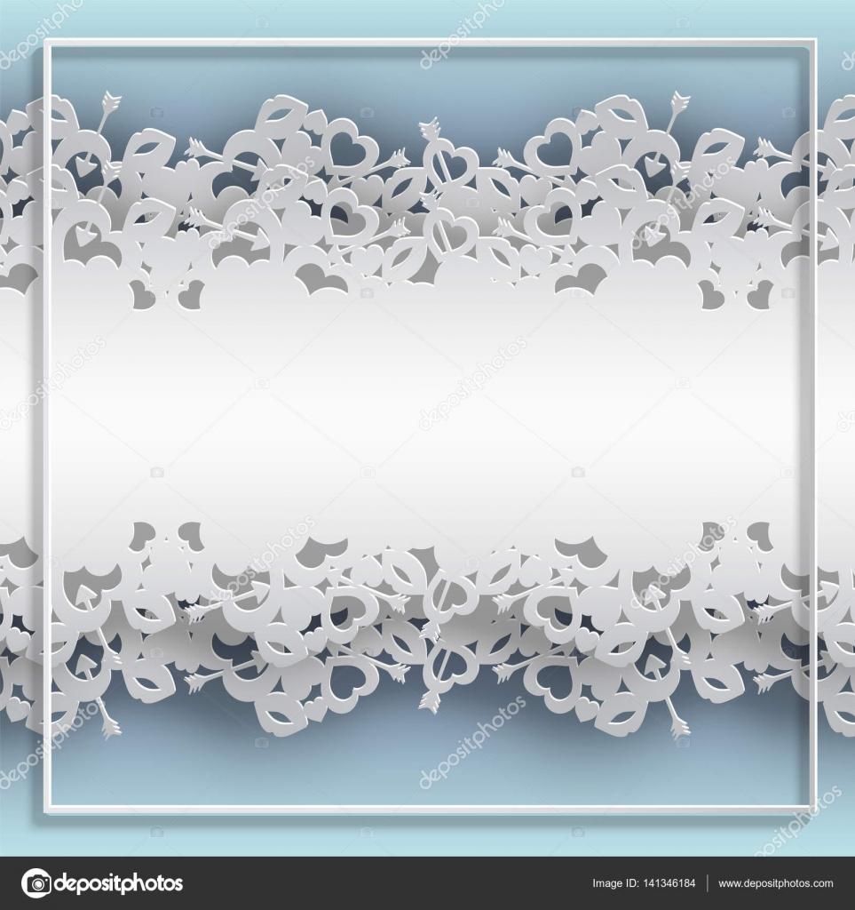 Rahmen geschnürt mit Herzen auf blauem Hintergrund — Stockvektor ...