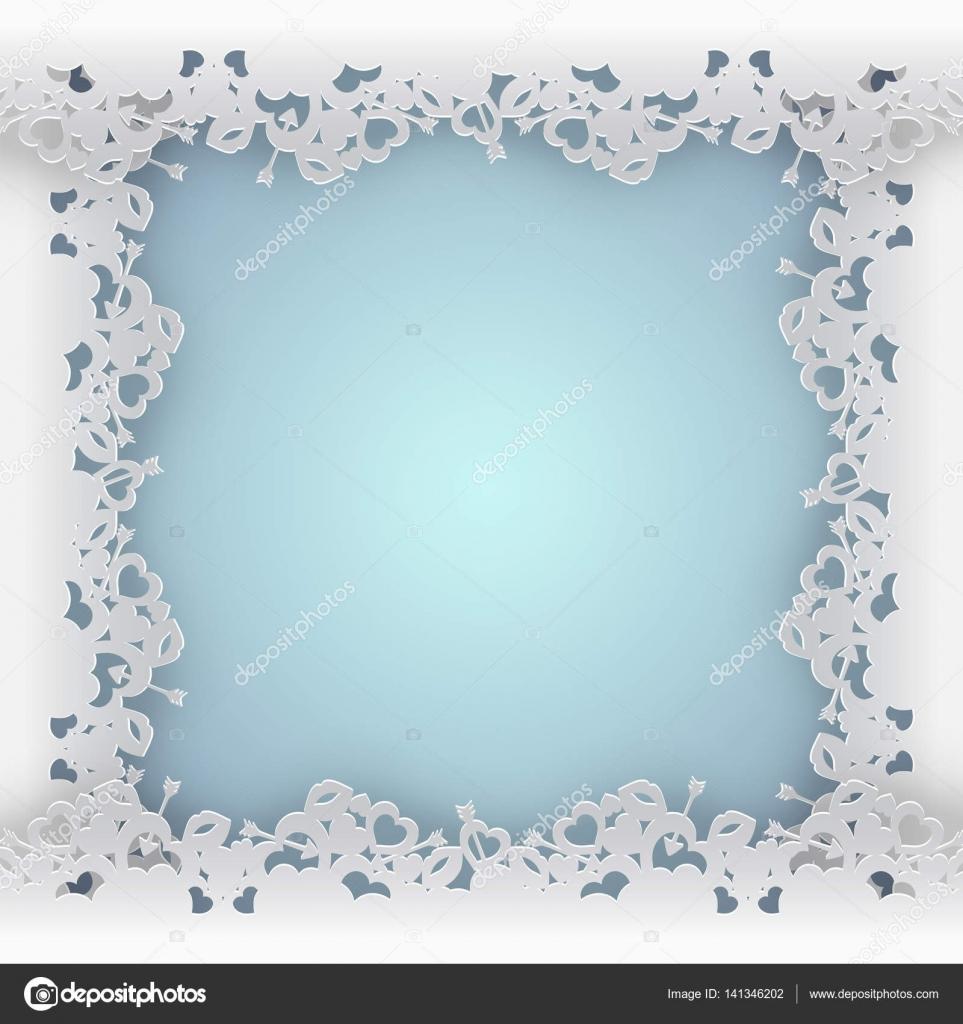 Rahmen mit Herzen auf blauem Hintergrund geschnürt — Stockvektor ...