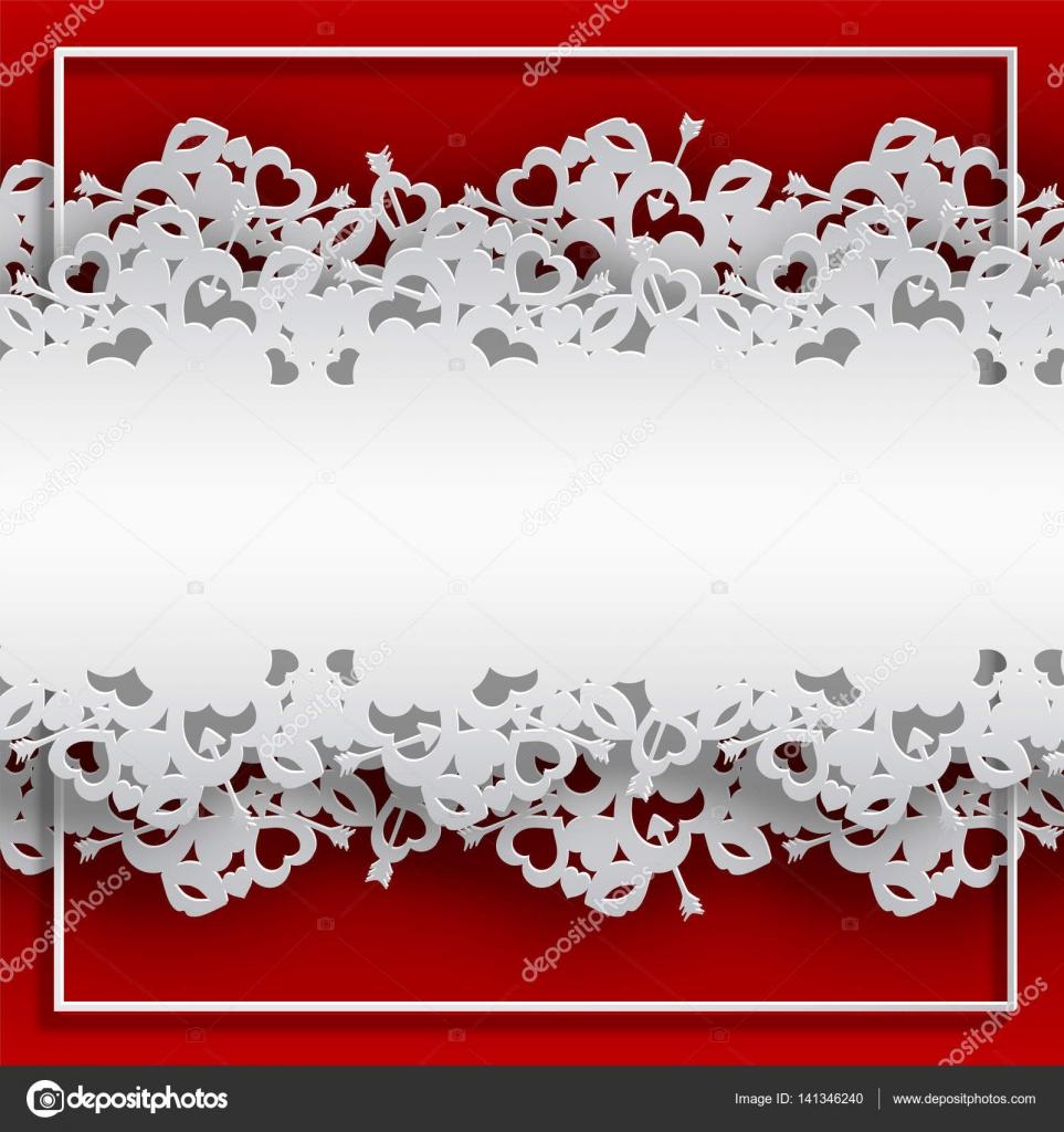 Rahmen geschnürt mit Herzen auf rotem Grund — Stockvektor ...