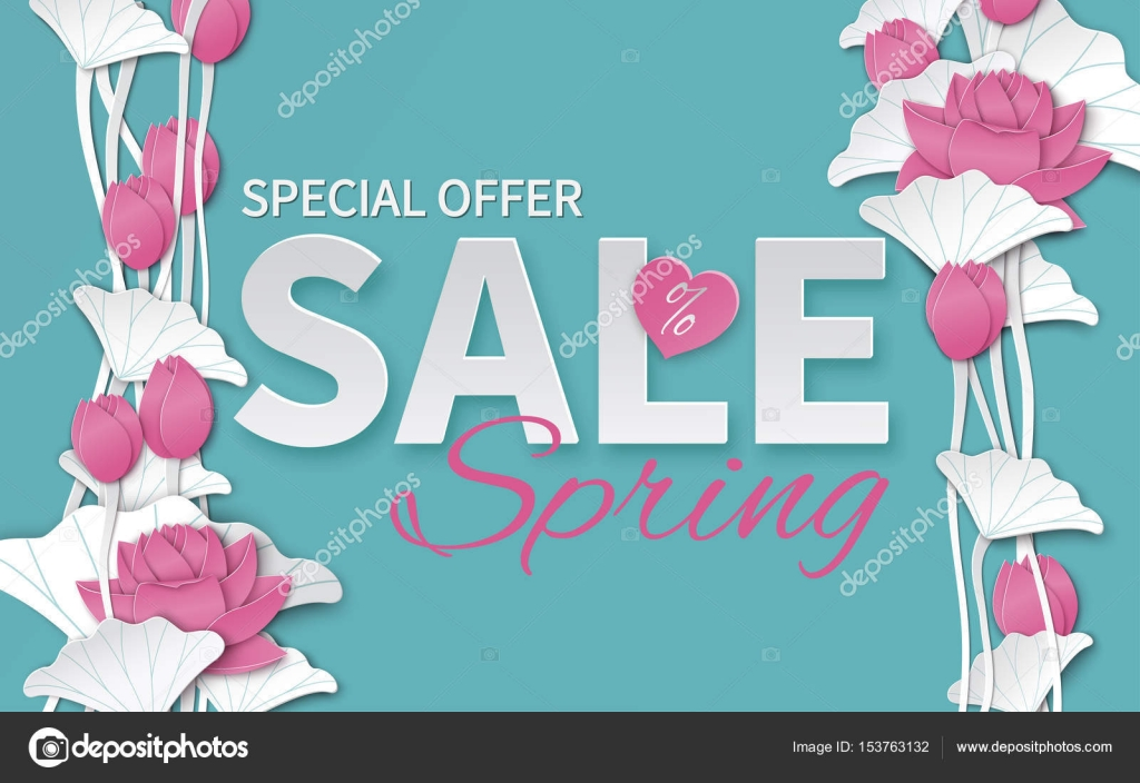 Spring Sale Banner Template With Paper Cut Blooming Pink Lotus