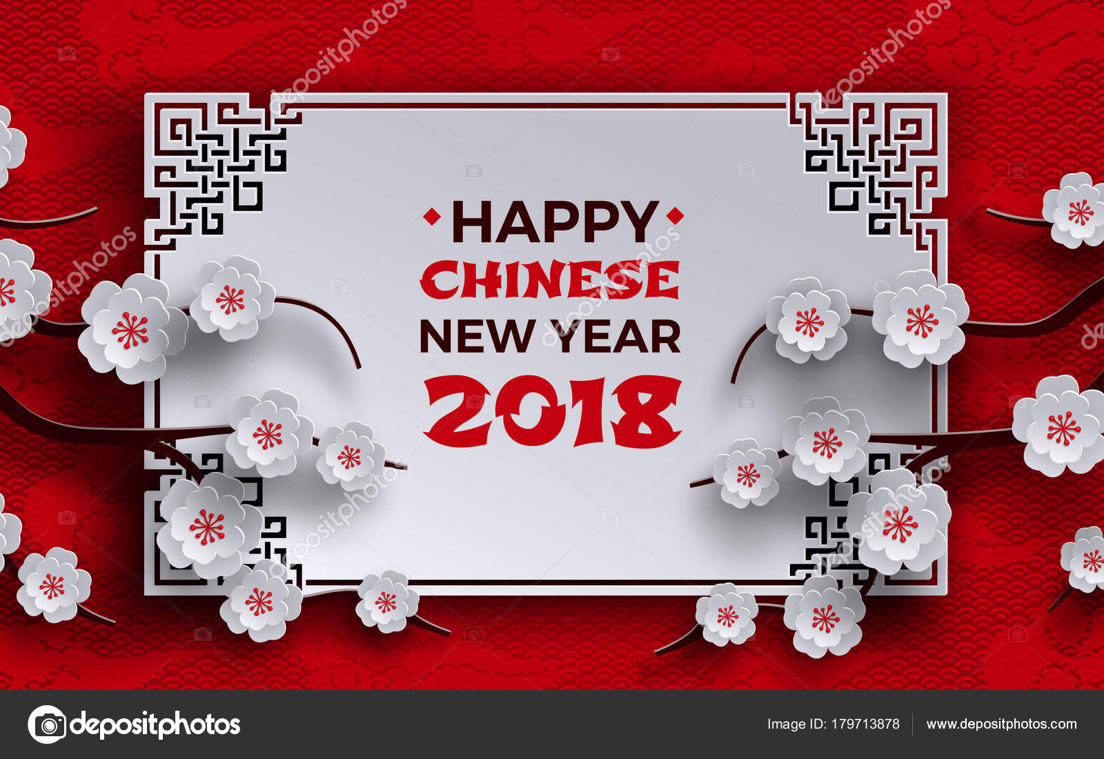 chinese new year 2018 banner white frame with sakura or cherry flowers on red pattern background with oriental asian clouds design elements for greeting