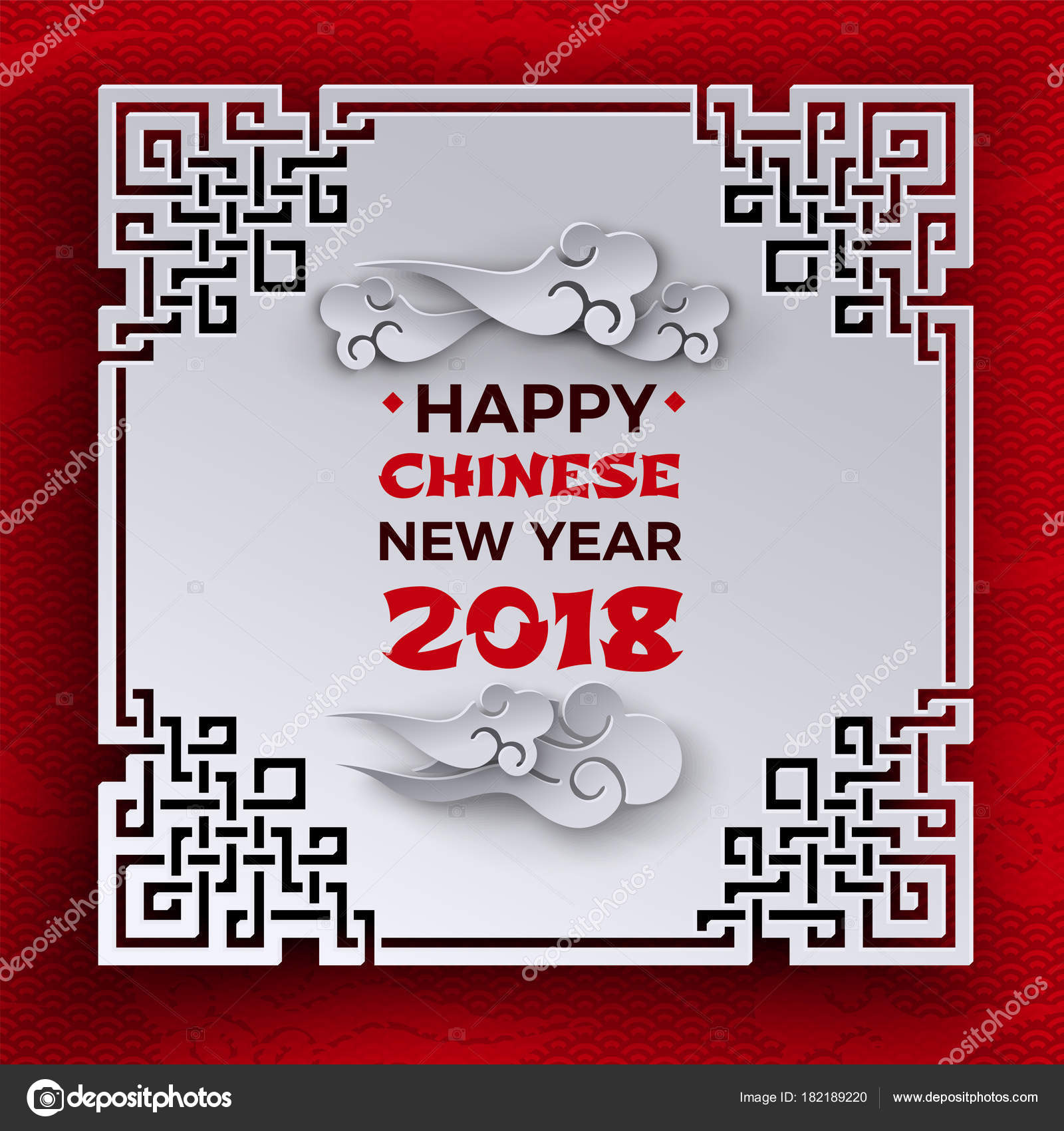 chinese new year 2018 banner text on white tracery ornate frame paper clouds on red pattern background with oriental cloud design element for greeting