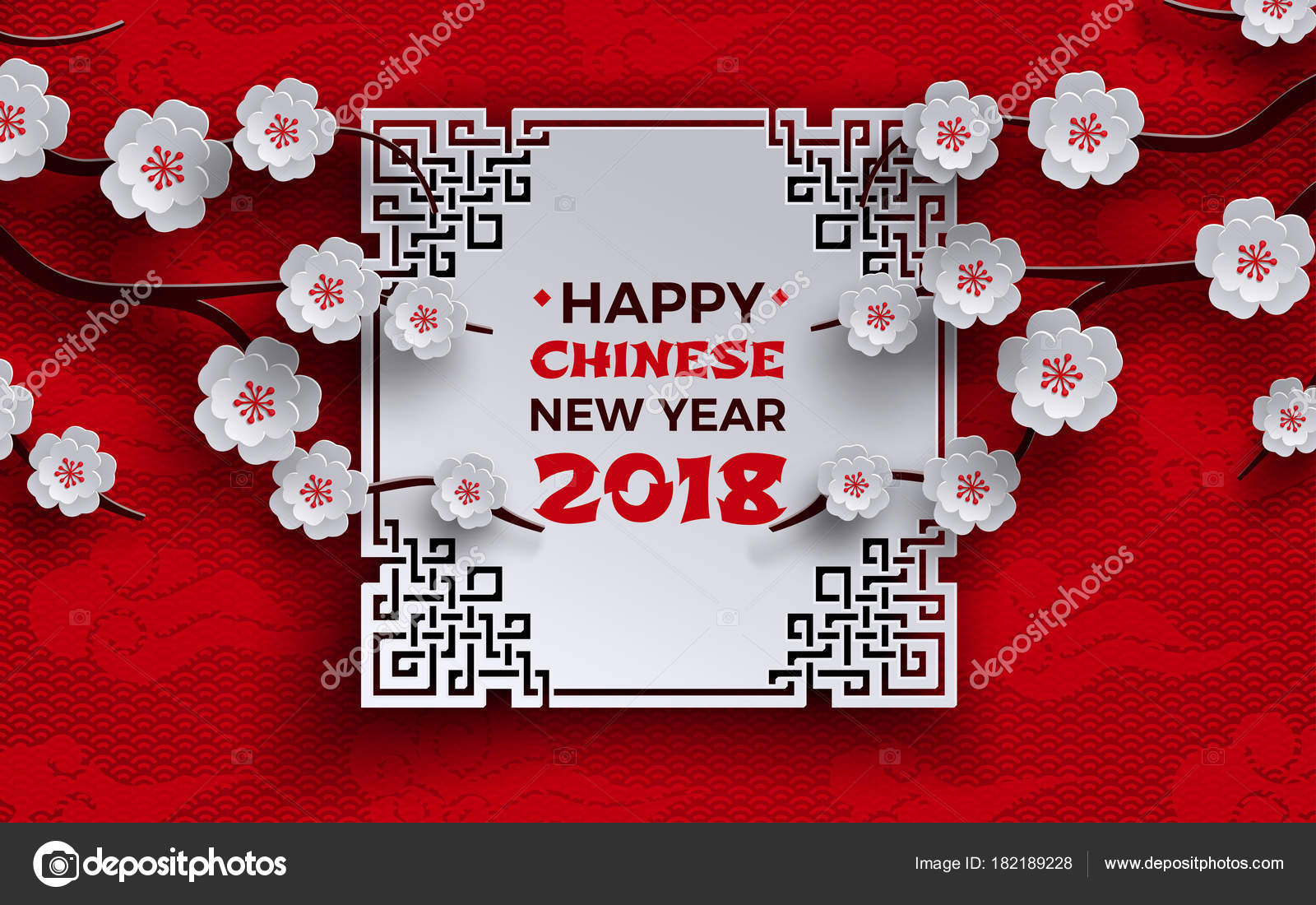 chinese new year 2018 banner with white ornate frame sakura cherry flowers tree red pattern background with oriental clouds design element for banner
