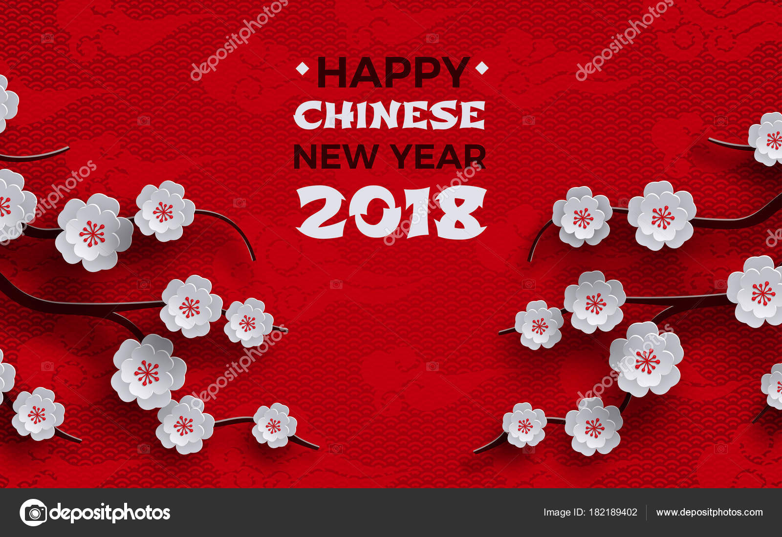2018 chinese new year banner red background traditional sakura cherry stock vector