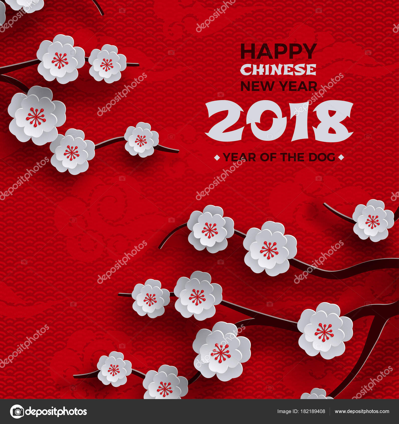 2018 chinese new year poster red background with traditional sakura cherry flowers on tree branches clouds pattern oriental backdrop