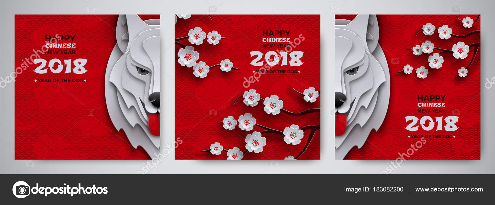 set of chinese new year banner symbol 2018 year of the dog zodiac sign