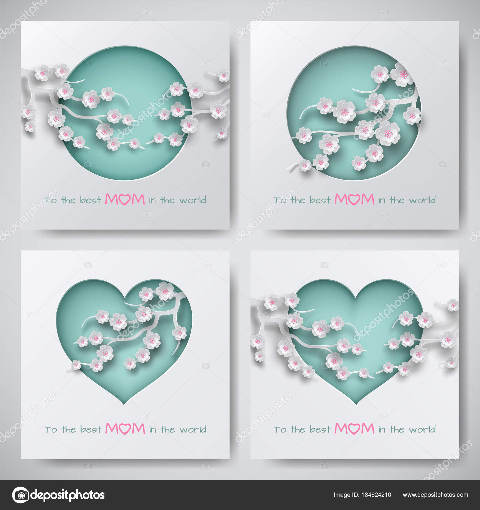 Set Green Greeting Cards Mother Day Women Baby Silhouettes